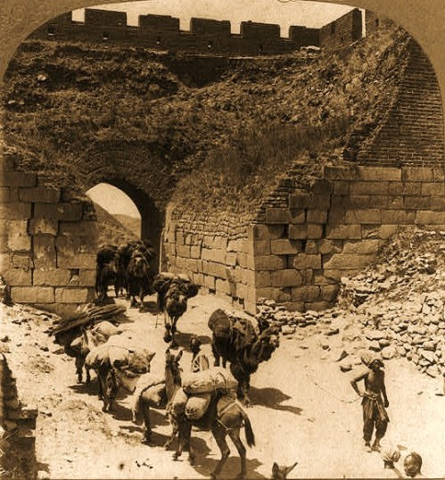 Camel train from Mongolia via Nankow Pass, coming through the Great Wall of China 1902