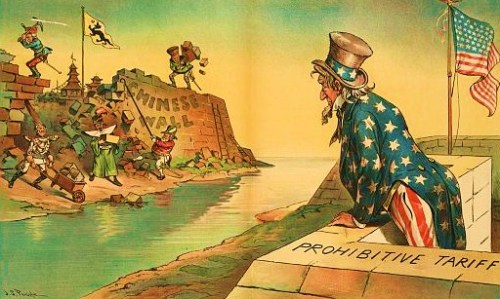 "Print shows Uncle Sam standing at the top a wall labeled ""Prohibitive Tariff"" on land labeled ""U.S."", looking across a body of water at the ""Chinese Wall"" being torn down by European and Japanese rulers labeled and caricatured as ""France"" (Felix Faure), ""Germany"" (William II), and ""Japan"" (Meiji), ""England (George V), and ""Russia"" (Nicholas II)."