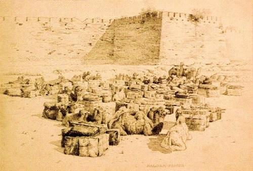 A caravan outside the walls of Peking 1893