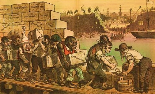 "Print shows Uncle Sam using ""Congressional Mortar"" and building blocks carried by ethnic workers to construct a wall with the stones are labeled ""Law against Race, Prejudice, Jealousy, Competition, Fear, Anti Low Wages, Non-Reciprocity, [and] Congressional Blunders"". Across a river, in the background, Chinese workers work with picks to dismantle the Great Wall, as China opens its doors to trading with the West. 1882"
