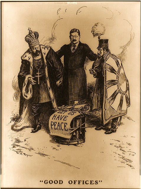 "Photograph of a cartoon showing Theodore Roosevelt standing between Tsar Nicholas II of Russia and Emperor Meiji of Japan, with his hands on their shoulders; a scroll reading ""Let us have peace"" rests upon a drum in the foreground."