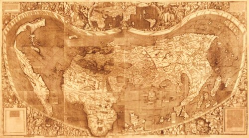 "The 1507 Universalis cosmographiae by Martin Waldseemüller is the first map to show the continents of the New World separated from Asia, revealing the Pacific Ocean. Often called the ""Birth Certificate of America,"" it is also the first map on which the name ""America"" appears. The only surviving copy, displayed here, is a masterpiece of woodblock printing and is modeled after the earlier world maps of second century geographer Claudius Ptolemy."