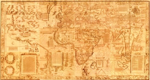 Printed on twelve sheets, the Carta Marina, like the Martin Waldsemüller's 1507 world map, was part of the volume of cartographic materials, known as the Sammelband, assembled by mathematician, alchemist, and globe-maker Johann Schörner. Sheet number six appears slightly different in color from the other eleven sheets of the map because it is printed on a different type of paper and most probably was a proof sheet. This sheet of the map was not originally bound into the Sammelband like the others and seems to have been added at a later date.