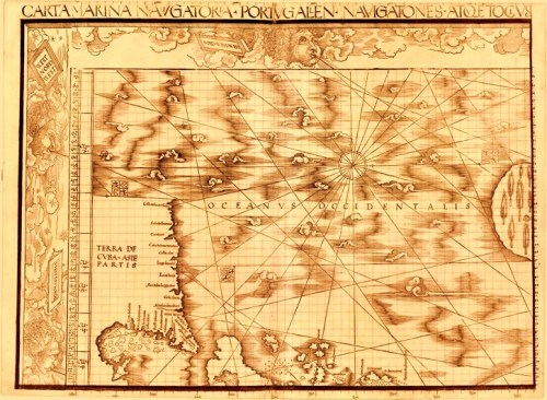 The Schöner Sammelband is arguably one of the most important compilations of cartographic materials to survive from the early Renaissance. The Sammelband, or compilation, was discovered in 1901 by the Jesuit historian, Father Josef Fischer, in the library of the Castle of Wolfegg, in Württemberg, Germany. The volume had been assembled sometime after 1516 and contained the only surviving copies of Martin Waldseemüller's 1507 Universalis cosmographiae, his 1516 Carta Marina Navigatoria (page shown)and globe patterns by the mathematician, alchemist and globe-maker Johann Schöner (1477–1547).