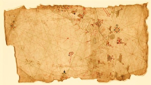 This is a portion of a sixteenth-century portolan (or sailing) chart of the Pacific Coast of Central and South America, showing the region from Guatemala to northern Peru. The names of coastal towns on the map are written in two different hands, dating the chart to the middle of the sixteenth century.