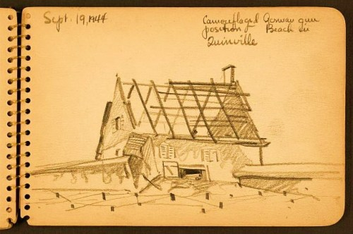 Camouflaged German gun position, beach in Quinéville Sketch showing house with missing roof with gun in doorway in Quinéville, Manche, France.