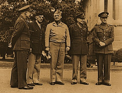 Allied military conference in India. American and British military leaders who met in conference recently in India. Left to right: Field Marshal Sir Archibald Wavell; Lieutenant General Joseph W. Stilwell, commanding all U.S. Army troops in China, Burma and India; Lieutenant General H.H. Arnold commanding the entire U.S. Army Forces; Lieutenant General Brehon Somervell, commanding the entire Service of Supply for the U.S. Army; and Field Marshal Sir John Dill