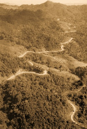 Aerial view of the first convoy to go from India to China over the re- opened Burma Road. (Department of the Army photograph)