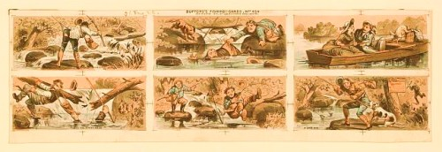 "Print shows an uncut sheet of six fishing scenes with titles: ""Caught on the Fly"" which shows a man caught by the hook of his own line while casting; ""Fishing in Earnest"" which shows a man helping a fisherman who has fallen into the water; ""Fishing"" which shows a young man and a young woman in a boat, he is teaching her how to fish, while a cat raids the picnic basket at the front of the boat; ""Into the Water We Go"" which shows a fisherman and a small dog falling into the water when the log on which they were standing, breaks, he pulls another man into the water with him; ""Tables Turned"" which shows a two fishermen, one watching the other who has caught hold of a fish in his arms, dropping his fishing pole and slipping off a rock, into the water; and ""A Good Bite"" which shows a dog biting a fisherman by the seat of the pants and holding him while a policeman runs toward them, there is a ""No Trespassing Allowed"" sign on a tree where the man is fishing."