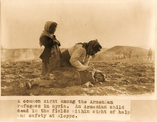 "Syria - Aleppo - Armenian woman kneeling beside dead child in field ""within sight of help and safety at Aleppo"""