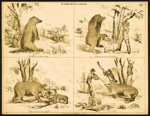 Pictorial lettersheet shows progression of a hunter winning a fight with a bear.   San Francisco : Lithographed & published by Britton & Rey, [between 1850 and 1860]