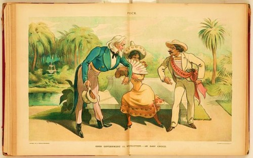 "Illustration shows a well-dressed woman, holding a fan labeled ""Cuba"", accepting the arm of Uncle Sam rather than going over to a well-dressed Cuban man wearing a sash labeled ""Revolution."""