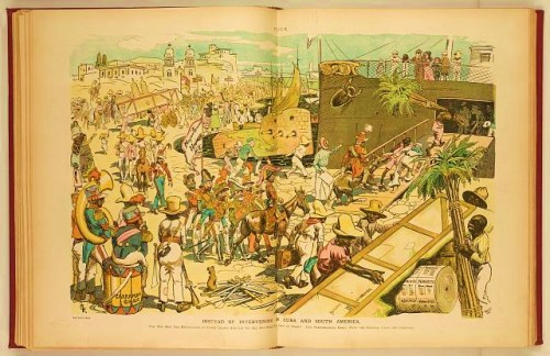 Instead of intervening in Cuba and South America, why not ship the revolutions to Coney Island and let us all get some fun out of them? Two performances daily, with the original casts and costumes. Illustration shows a ship at a loading dock in Cuba or South America where they are shipping their revolutions, with scenery, military equipment, and personnel, to Coney Island. There is organization and composure in the boarding of the ship as revolutionaries and soldiers await their turns.