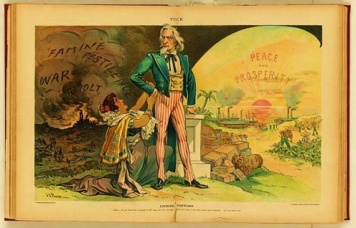 "Print shows a female figure labeled ""Cuba"" on one knee appealing to Uncle Sam for a continued American presence in Cuba, as a means to prevent ""Famine, Pestilence, War, [and] Revolt"" and for providing ""Prosperity"" and ""Peace"", and trade in such products as ""Tobacco, Cigars, Sugar, Coffee, [and] Fruit""."