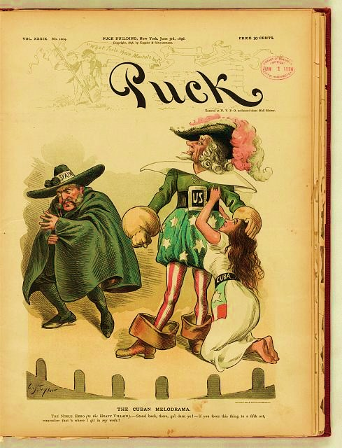 "Print shows Uncle Sam in the role of the ""Noble Hero"" in a melodrama, defending a young woman labeled ""Cuba"" from the ""Heavy Villain"" labeled ""Spain""."