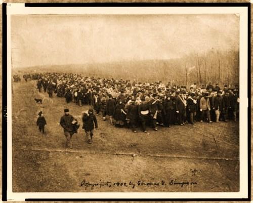 Doukhobor pilgrims landing at Yorkton, Canada, Oct. 28, 1902