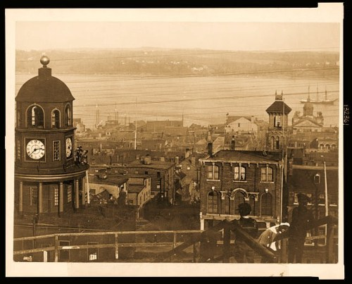 View of harbor and buildings of Halifax, Nova Scotia where the ship Mackay-Bennett brought 190 victims of the Titanic disaster.
