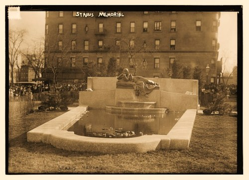 Photograph shows Straus Memorial Park in New York City. The memorial and park was dedicated on April 15, 1915, the third anniversary of the death of Isidore and Ida Straus on the Titanic.