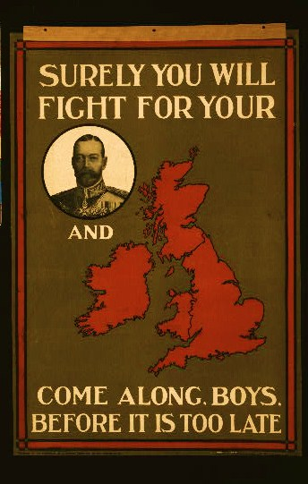 Poster showing portrait of King George V and a map of Great Britain as parts of a rebus.