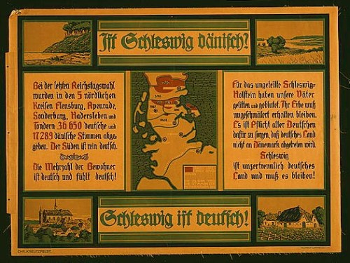 Poster shows a map of the province of Schleswig, indicating the location and numbers of Danish speaking inhabitants (as of 1912), and four views of the province, a farmhouse, a church in a town, a river or canal, and a coastal view. Text: Is Schleswig Danish? Schleswig is German! Additional text addresses the issue of Schleswig remaining part of Germany or being partitioned to Denmark.