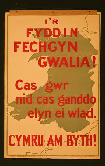 Poster showing a map of Wales, with text in Welsh.