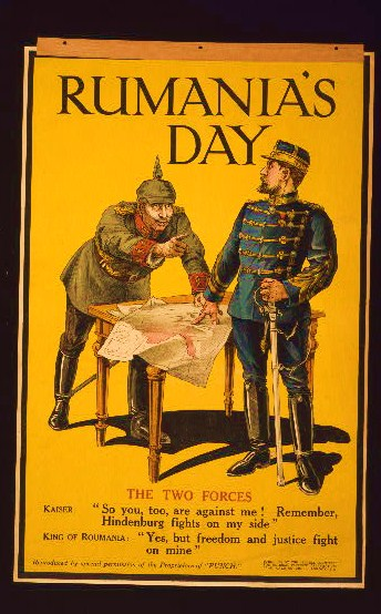 Poster showing the Kaiser and the King of Romania arguing while examining a map.