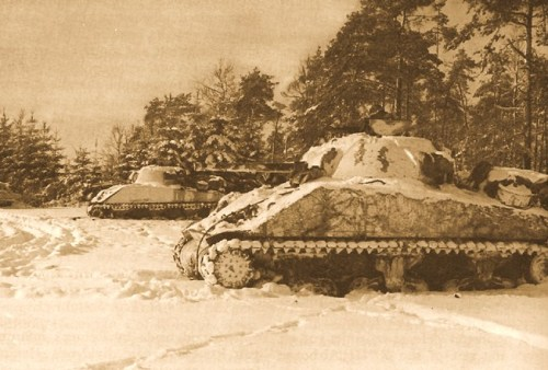 TANKS OF THE 7TH ARMORED DIVISION in a temporary position near St. Vith.