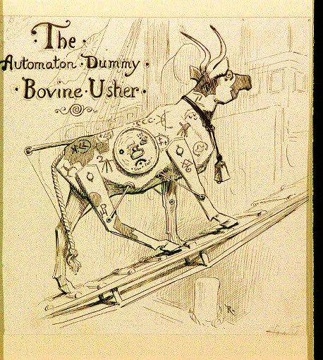 "Robot cow walking up ship plank. Published, possibly as title page, in ""The Automaton Dummy : Bovine Usher"" by Wallace Peck, Life, 8:25 (July 8, 1886)."