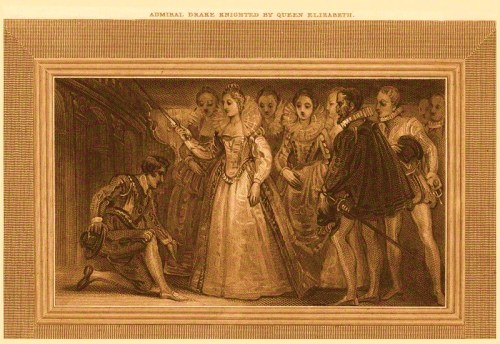 Admiral Drake knighted by Queen Elizabeth
