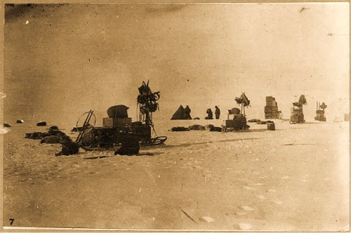 Discovery and explorations of the South Pole by Capt. Roald Amundsen and crew, 1910-11: A photograph of another of the expedition's camps on the way to pole