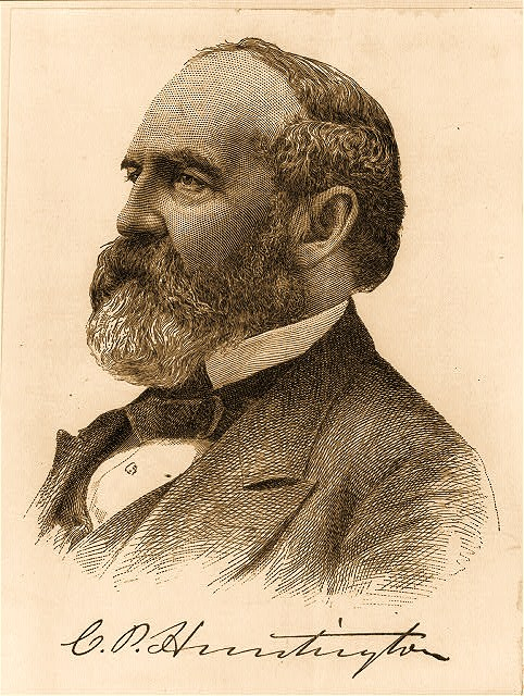 Collis Potter Huntington, 1821-1900, head and shoulders portrait, facing left
