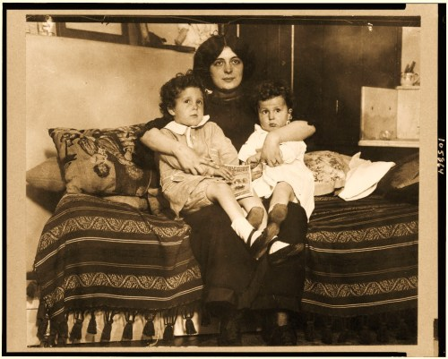 Survivors of the Titanic disaster. Louis and Michel Navratil, of Nice, France, on their mother's lap.