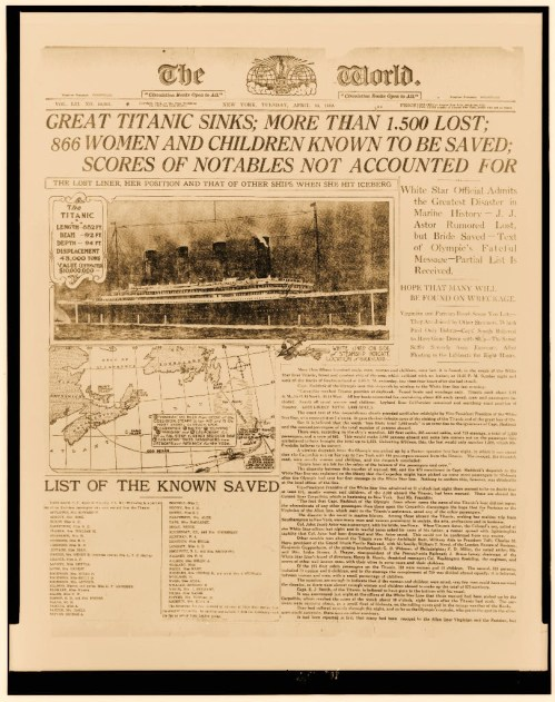 Photograph of front page of The World of 16 April 1912 headlining the sinking of the Titanic