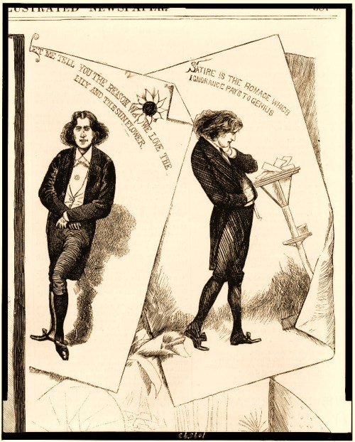 "Two portraits of Oscar Wilde, titled ""Let me tell you the reason why we love the lily and the sunflower"", and ""Satire is the romance whic ignorance pays to genius""."