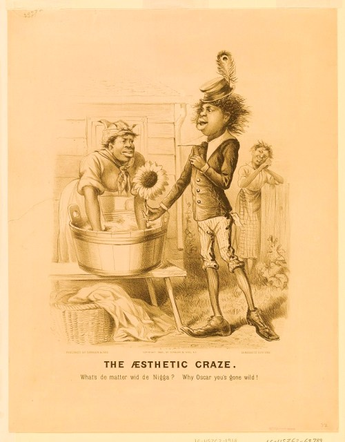 Print shows Oscar Wilde as an African American dandy wooing an African American woman leaning over a wash tub and wash board; he is presenting her a large sunflower, as another African American woman, in the background, dreamily observes.