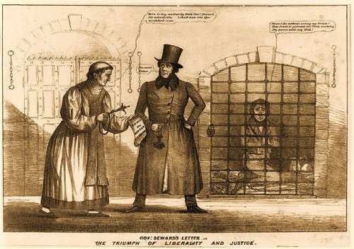 "A dramatic prison scene, intended to contrast the clemency of New York's Whig governor William H. Seward with the vindictiveness of the Democrat-controlled New York City prison administration. In the interior of the Halls of Justice, popularly known as ""the Tombs,"" a grim jailer stands blocking the approach of a Catholic priest toward a small cell, saying ""You can't Enter."" The priest, holding a crucifix and rosary beads, presents a paper marked ""Admit the Bearer. W H Seward"" and replies, ""Here is my authority from Govr. Seward for admission. I shall now see the wretched man."" Meanwhile, in his cell, the ""wretched man""--actually, convicted murderer John Caldwell Colt--kneels in prayer, a Bible beside him. He implores, ""Must I die without seeing my Priest? How cruel to prevent me from making My peace with my God!"" The print may be based on an actual incident. Interestingly, though, in the closing months of his administration Seward refused to pardon Colt, despite considerable political pressure to do so. Colt cheated the hangman by taking his own life on the day of his scheduled execution."