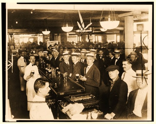 Interior of a crowded bar moments before midnight, June 30, 1919, when prohibition went into effect New York City.