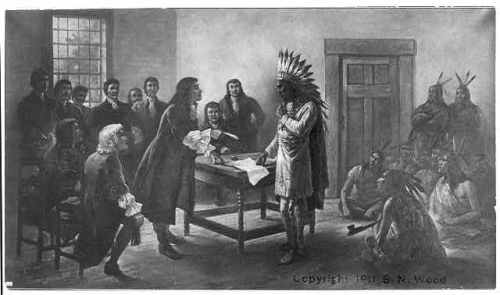 King (Metacomet) Philip, Sachem of the Wampanoags, d. 1676, full length, standing at treaty table with white men