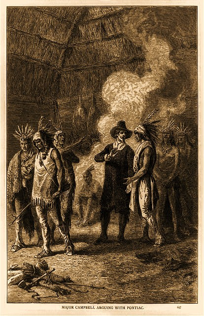 William Campbell and Indians by a fire; possibly related to Pontiac's Conspiracy.